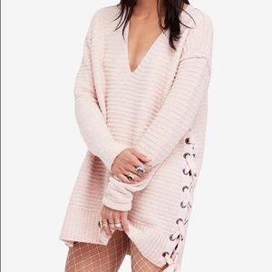 Free People oversized soft pink bow sweater